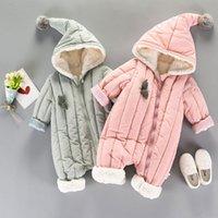 Winter fällt Neugeborene Babys Junge Kleidung Warme Kapuze Overall Jacke Babyabnutzung Kleidung setzt Cotton Overalls Strampelhöschen T191024