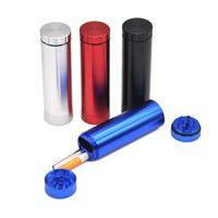 Grinder Mit Zigarettenetui Halter Aluminium Pocket Composite Cracker Automatische Auswurf Für Öl Rig Bongs Zubehör