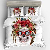 Set di biancheria da letto di scheletro floreale 3pcs copricuscino di disegno creativo sveglio federe federe di formato doppio pieno della regina degli Stati Uniti