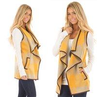 격자 무늬 양복 조끼 여성 주머니 격자 무늬 패치 워크 코트 홈 의류 GGA3039와 옷깃 민소매 열기 전면 앙 조끼 셔츠 재킷 확인
