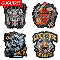 GUGUTREE embroidery big skull letter patch animal cartoon pa...