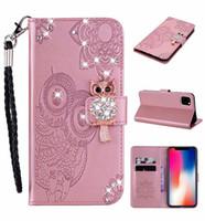 3D diamant Bling OWL Portefeuille en cuir Cartoon fleur Bracelet Carte Stand Housse pour iPhone 11 pro max XS MAX XR 6 7 8 PLUS