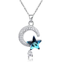 Collana pendente di cristallo Swarovski Elements Star Moon Diamante CZ 925 Collane in argento sterling Lovely Thanksgiving Day Gifts POTALA019