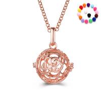 Flor de rosa Aromaterapia Locket Collar Madala Flor en forma de aceite esencial Difusor Collar Largo Para Las Mujeres Regalo de la joyería