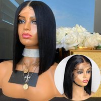 Perruques de cheveux humains afro-américains Bob Style Short de lacets Brésilien Remy Brésilien avec des poils pour bébés Perruque de cheveux humains en dentelle pleine dentelle
