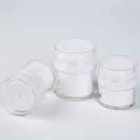 15 30G Bianco Semplice Simple Airless Cosmetic Bottle 50g Acrilico Aspiro Cream Jar Cosmetics Pump Contenitore della lozione