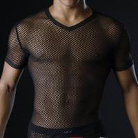 Hommes chauds T-shirts Transparent Mesh Voir à travers Tops Tees Sexy Homme T-shirt V Cou Singulier Gay Homme Casual Vêtements T-shirt Vêtements