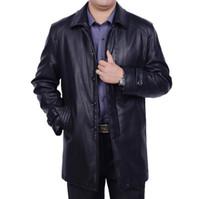 Livraison gratuite hommes chaud hiver nouvelle taille plus veste en cuir véritable hommes long Business vestes casual hommes en cuir vêtements tranchée manteau S-4XL