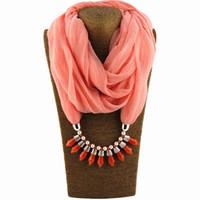 Regalo para las mujeres Diseño moda estiramiento collar de hilo Bullet colgante bufanda Lino del diamante joyería salvaje color sólido Fold bufandas