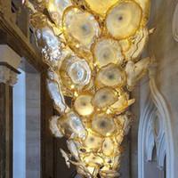 Oturma Odası Altın Çiçek Lambası Avizeler Işık LED Tasarruf Işıkları Kaynağı Murano Cam Plakalar Sanat Avize Lambaları Arap Kristal Aydınlatma