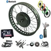 48V 1500W 전기 지방 타이어 자전거 변환 키트 지방 타이어 ebike 키트 컬러 LCD 디스플레이 블루투스 컨트롤러 전면 135mm 후륜 170 / 190mm