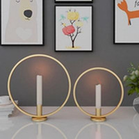 Bougeoir Bague Forme Fer Métal décoratif Candlestick pour soirée de mariage salle à manger Table Centerpiece Ornements Décoration d'intérieur EEA1254-1