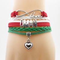 Love Oman Bandiera nazionale Bracciale Cuore Charm Sultanato Of Oman Bandiera Bracciale in pelle Bangle per donna e uomo regalo gioielli