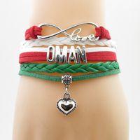 Amore Oman Bandiera National Bandiera Braccialetto Cuore Sultanato della Bandiera dell'Oman Braccialetti in pelle Braccialetti per donna e uomo Gioielli Regalo Rnnij