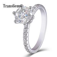 Обручальное кольцо Solitare 1,5 карат 14k 585 Белое золото 7.5мм F Цвет Муассанитовый камень Центр 2мм Ширина полосы с акцентами Transgem Y19032201