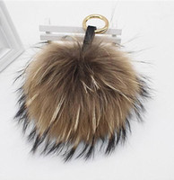 Catena di cuoio di modo-Fluffy pelliccia di Fox sfera pompon in pelliccia naturale Pompon cinghia chiave di Keychain dell'anello del pendente per le donne fascino F278