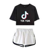 Tik Tok Software 2019 Nouvel été Kpops Femmes Deux Pièces Ensemble Shorts Et Belle T-shirts Vêtements Vente Chaude Harajuku Imprimer J190429