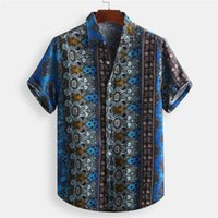 Men's Casual Shirts Summer Mens Hawaiian Fashion Ethnic Style Printed Loose Short Sleeve Buttons Tops Blouse Men Clothing Camisas
