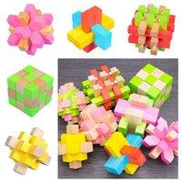 IQ 3D del cerebro de madera juguetes rompecabezas de bambú que entrelaza Puzzles juego agujero Ming bloqueo rompecabezas del desmontaje Luban bloqueo 3d candado 8 estilos