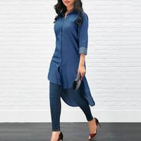 Mode femmes vêtements bouton de denim solides chemisiers à manches longues revers de la poche du col décontracté chemises en polyester une pièce