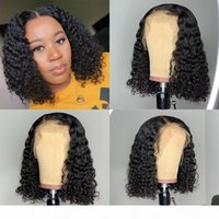Brazilian Curly Lace Front Human Hair Wigs Short Bob Wig Wit...