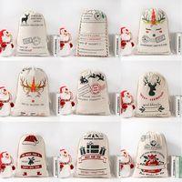 Sacs cadeaux de Noël Père Noël Sacks Monogrammable Père Noël Sac Sac à cordonnet Père Noël Cerfs 9 Designs en vrac en stock LXL640L