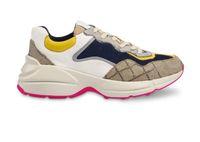 Femmes Hommes Confort Rhyon Vintage papa chausse cuir Formateurs lettres Imprimer Patchwork couleur Sneakers Party Chaussures de mariage Zapatos