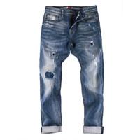 New Mens Jeans Washed Blau Blass zerrissene lange Denim-Bleistift-Hosen für Männer beiläufige Art und Weise Jeans