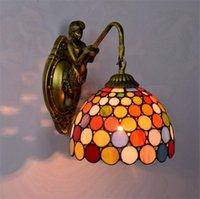 رئيس واحد الملونة الجدار الزجاجي أضواء E27 شريط الممر ضوء شرفة جدار 220V تيفاني زجاج ملون جدار مصباح TF011