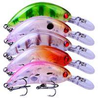 5 ألوان البلاستيك crankbait الصيد إغراء 5.5 سنتيمتر / 3.8 جرام الاصطناعي طباعة الصلب الطعم 10 # 2 هوك معالجة