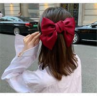 Clips INS niñas Bowknot grande del pelo de las mujeres de los niños de la horquilla color sólido Pinch Gallo Barrettes Moda Toca Headwear de los accesorios del pelo E4703