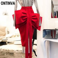 Women Fashion Pencil Skirt Red Blue Lolita Front Big Bowtie ...