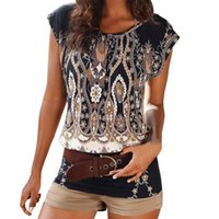 Summer Womens Tops And Blouses Print Tops O Neck Sexy Short ...
