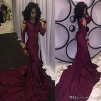 2019 Burgundy Prom Dresses Long Mermaid High Neck With Gold ...