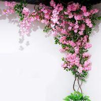 Искусственный Вишневое дерево Vine Поддельный Cherry Blossom Flower Branch Sakura дерево Ствол для проведения венчания дерева Deco Искусственные декоративные цветы