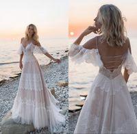 Neue Boho Beach Brautkleider 2020 vor Schulter Spitze Appliques Brautkleider Sexy Backless Eine Linie Hochzeitskleid Robe de Mariee