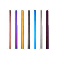 215 * 12mm 304 Palha de Aço Inoxidável Colorido Canudos Reutilizáveis Em Linha Reta Ferramentas de Café Chá de Palha de Metal CCA11368