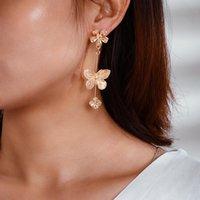 Weinlese-Frauen Ohrring-Gold überzogene große kleine Blumen-Schmetterlings-Charme baumeln Ohrringe