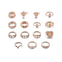 15st / set retro skönhet avatar guldmynt kors ring uppsättning mönster kärlek fatima palm ring ring uppsättning för kvinnor