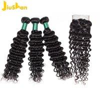 Onda profunda Pacotes com o fechamento da Malásia 3 pacotes com fecho de 100% cabelo humano Weave Pacotes com fechamento Non Remy