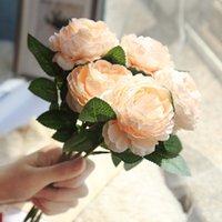 2PCS / mazzo di fiori artificiali Peony tocco reale falso artificiali fiori di seta Peony Bridal Wedding Decor Wreath Bunch Home Decor