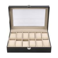 12 fentes grille PU montre en cuir boîte de montre bijoux organisateur de stockage cas verrouillé montre cercueil avec la couleur noire