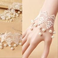 Billig heißer verkauf frauen hochzeit spitze armband mit pearl weibliche braut retro armband mode bridal handschuhe