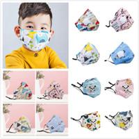 Auf Lager! Karikatur-Kind-Mask Kinder bunte Gesichtsmasken Aktivkohlefilter Entlüftungsventil PM2.5 Anti Haze Staubdichtes Protec Gesichtsschutz