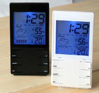 جديد شاشات الكريستال السائل ميزان الحرارة الرقمي درجة الحرارة الرطوبة متر الرطوبة على مدار الساعة الطقس HTC-2S أسود أبيض 20 بايسيس