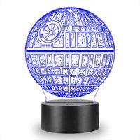 3D Planet Notte Light Touch Table Desk Optical Illusion Lampade Colore 7 che cambia le luci della decorazione della casa natale del regalo di compleanno