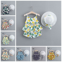 Flower Girl Trajes Baby Girls Floral Tops Shorts Hat 3pcs Set Suspender Toddly Ropa Set Summer Baby Ropa 7 diseños DHW3884