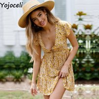 Yojoceli Loose button floral print ruffle dress women Summer...