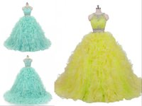 Chic Mint Two Pieces Quinceanera Prom dresses Lace Jewel Nec...