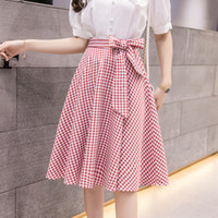 2019 New Korean Chic Plaid Lace-Up Hohe Taille Regenschirm Rock Frauen Sommer Casual A-Linie knielangen Röcke Womens Midi Rock